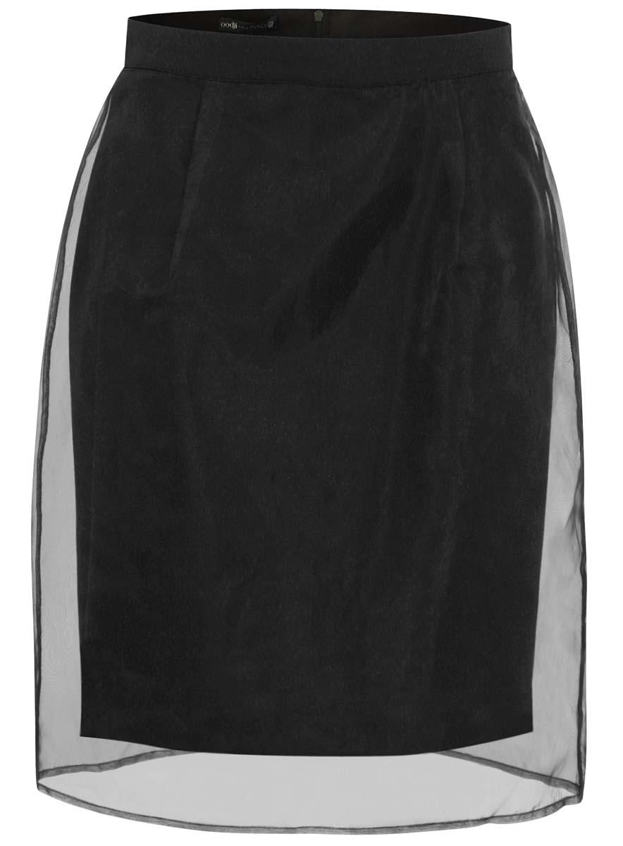 Юбка oodji Collection, цвет: черный. 21611111/18676/2900N. Размер 44 (50-170)21611111/18676/2900NЮбка oodji выполнена из качественного комбинированного материала. Модель-карандаш застегивается сзади по спинке на застежку-молнию. Верх юбки оформлен прозрачной органзой.