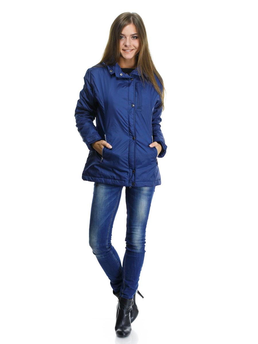 Куртка женская Montana, цвет: синий. 22776. Размер L (48)22776_NavyЖенская куртка Montana выполнена из нейлоновой ткани с наполнителем из высококачественного полиэстера. Модель классического прямого кроя с длинными рукавами, застегивается на молнию и имеет верхний защитный клапан на кнопках. Есть съемный капюшон, дополненный стопперами и застежкой-кнопкой, пристегивается к куртке на молнию. Манжеты дополнены хлястиками на липучках. На лицевой части три прорезных кармана на молниях, есть два внутренних кармана прорезной на молнии и накладной на липучке. Низ изделия дополнен стопперами на резинках.