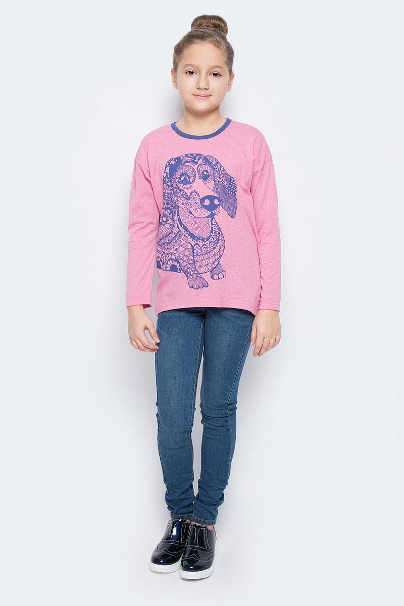 Лонгслив для девочки M&D, цвет: розовый. WJF260133-5. Размер 152WJF260133-5Стильный лонгслив для девочки выполнен из эластичного хлопка. Модель с круглым вырезом горловины и длинными рукавами. Лонгслив оформлен оригинальным изображением собаки, оформленной стразами. Горловина дополнена контрастной эластичной бейкой.