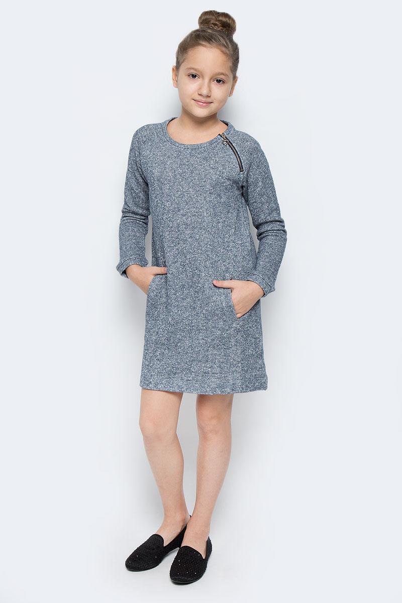 Платье для девочки Sela, цвет: серо-синий. DK-617/076-6414. Размер 116, 6 летDK-617/076-6414Стильное платье для девочки выполнено их хлопка с добавлением полиэстера. Модель мини-длины с круглым вырезом горловины и длинными рукавами-реглан дополнена двумя врезными карманами. Модель имеет небольшую застежку-молнию, которая расположена у горловины спереди.