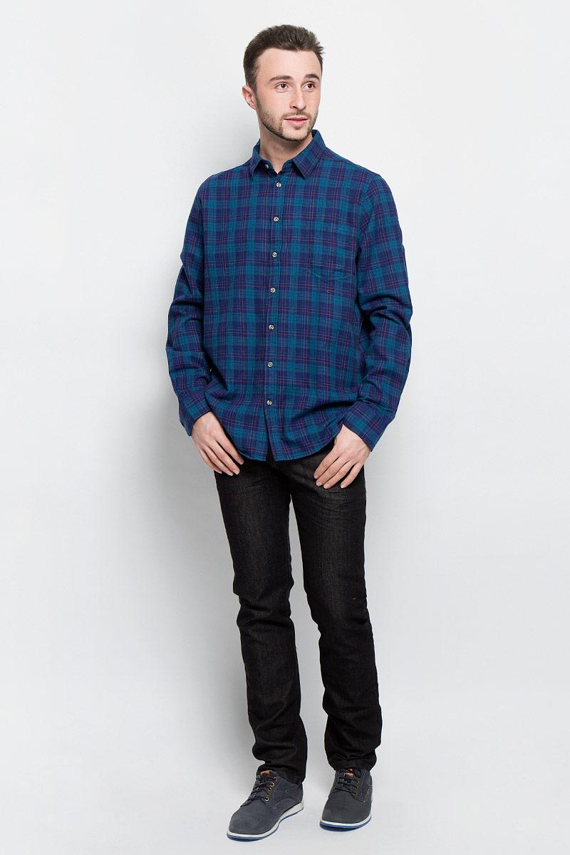 Рубашка мужская Sela Casual Wear, цвет: синий, бирюзовый. H-212/728-6436. Размер 40 (46)H-212/728-6436Мужская рубашка Sela Casual Wear выполнена из натурального хлопка. Рубашкас длинными рукавами и отложным воротником застегивается на пуговицы спереди. Манжеты рукавов также застегиваются на пуговицы. Рубашка оформлена принтом в клетку. На груди расположен накладной карман.