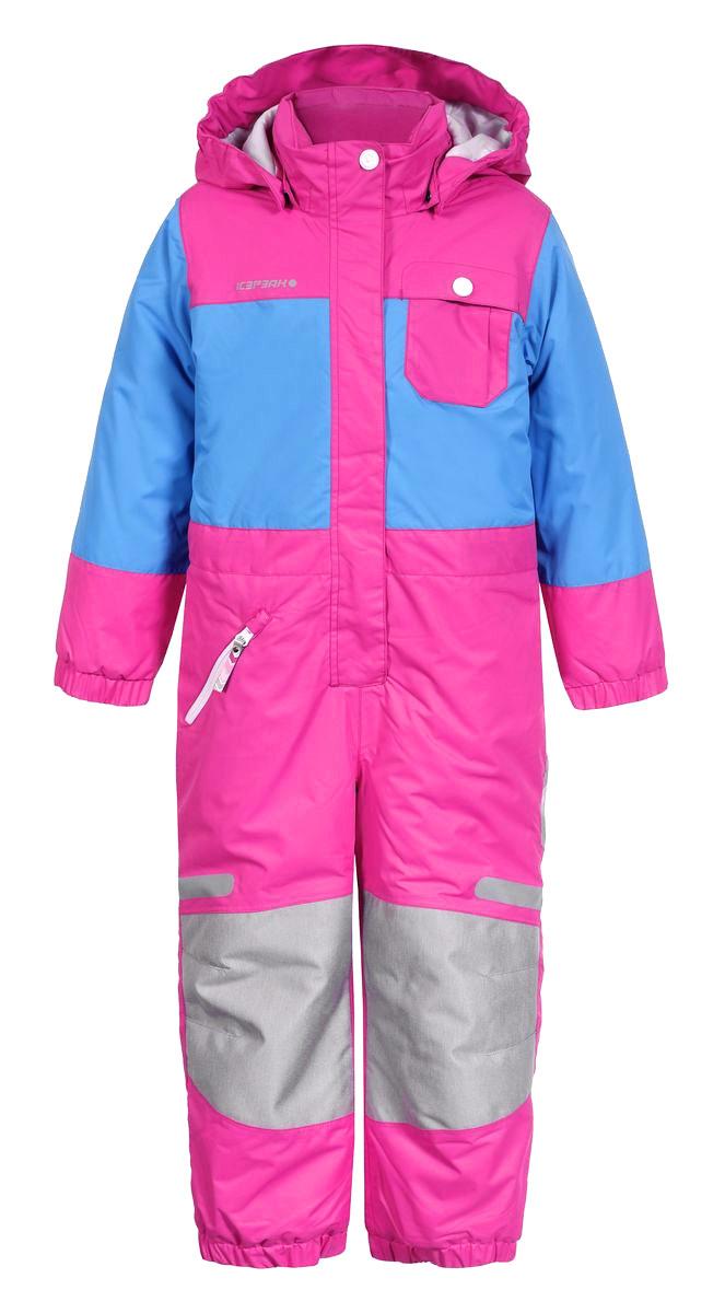 Комбинезон утепленный для девочки Icepeak Janna, цвет: розовый, голубой. 652152517IV. Размер 92652152517IVКомбинезон для девочки Icepeak Janna выполнен из водонепроницаемой и ветрозащитной ткани (10000мм/2000г/m2/24ч). В качестве утеплителя используется 100% полиэстер. Внешние швы изделия проклеены. Комбинезон с капюшоном и воротником-стойкой застегивается на пластиковую молнию с защитой подбородка и ветрозащитной планкой на липучках. Капюшон пристегивается на кнопки. Для большего комфорта на воротнике используется мягкая и тактильно приятная подкладка. На рукавах и по низу брючин имеются эластичные манжеты. При желании комбинезон можно регулировать на талии с помощью эластичной тесьмы с пуговицами, чтобы он плотнее прилегал к фигуре. Спереди расположен один прорезной карман на застежке-молнии, и один нагрудный кармашек с клапаном на кнопке. Светоотражающие элементы не оставят вашего ребенка незамеченным в темное время суток.Температурный режим от 0°С до -20°С.Водонепроницаемая мембрана 10000 mm.