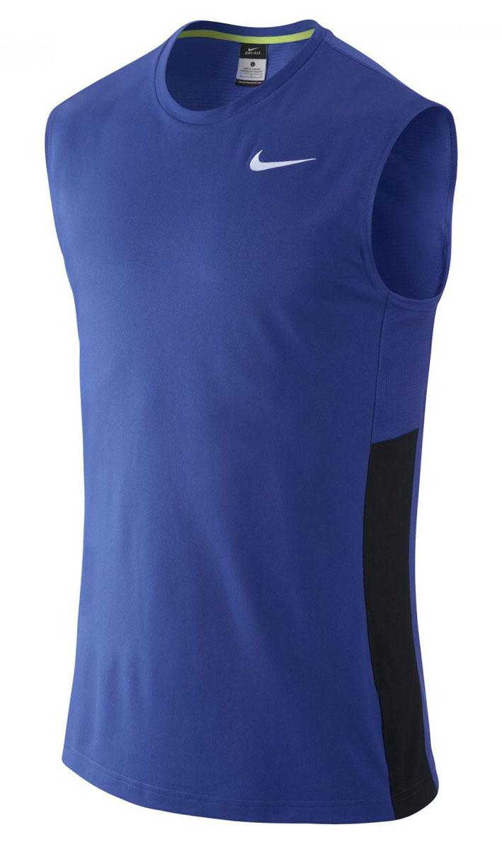 Майка для баскетбола мужская Nike Crossover, цвет: голубой. 641419-480. Размер M (46/48)641419-480Майка Nike Crossover выполнена из влагоотводящей ткани Nike Dri-FIT, гарантирующей вентиляцию и комфорт. Сетчатые вставки из материала Dri-FIT усиливают вентиляцию, облегающий крой, круглый вырез.