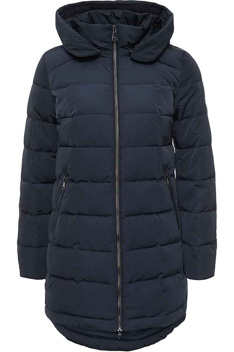Пальто женское Finn Flare, цвет: темно-синий. W16-32006_101. Размер L (48)W16-32006_101Стильное женское пальто Finn Flare изготовлено из высококачественного полиэстера. В качестве утеплителя используется пух с добавлением пера.Модель с воротником-стойкой и съемным капюшоном застегивается на застежку-молнию. Капюшон, дополненный регулирующим эластичным шнурком, пристегивается к пальто с помощью кнопок. Спереди расположены два прорезных кармана на застежках-молниях. Спинка модели немного удлинена.