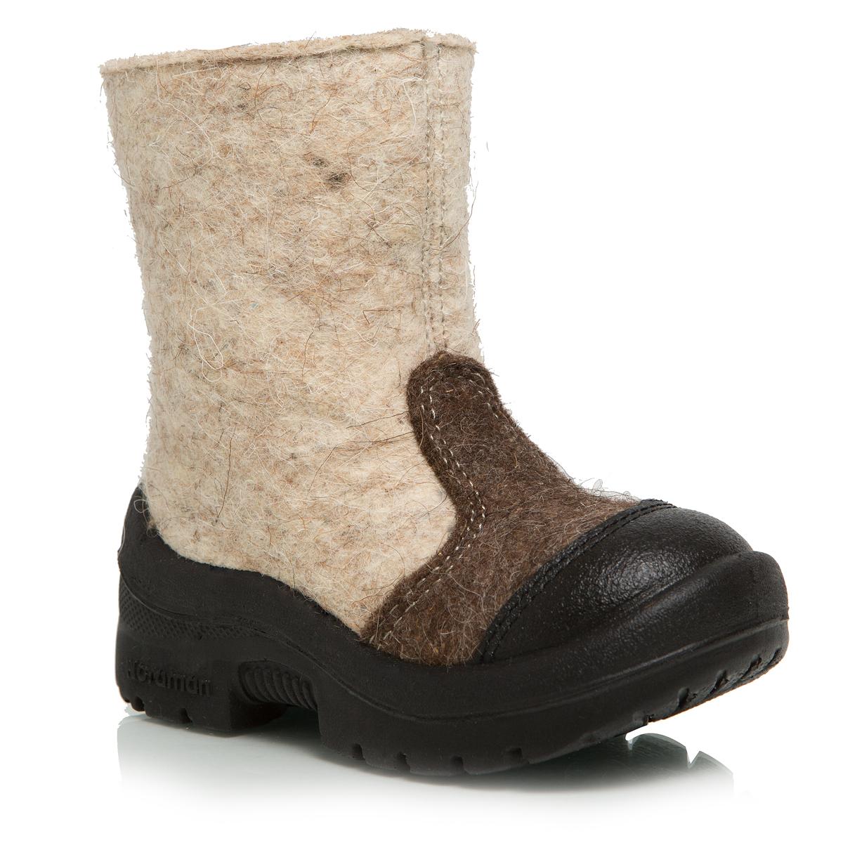 Валенки детские Nordman, цвет: бежевый. 114010-03. Размер 23114010-03Валенки Nordman выполнены из качественного войлока. Носок дополнительно усилен вставкой из натуральной кожи. На ноге модель фиксируется с помощью удобной застежки-молнии.Внутренняя поверхность выполнена из натуральной шерсти, которая обеспечит тепло и комфорт. Съемная стелька также выполнена из натуральной шерсти. Подошва изготовлена из полиуретана и дополнена протектором, который обеспечит отличное сцепление с любой поверхностью.