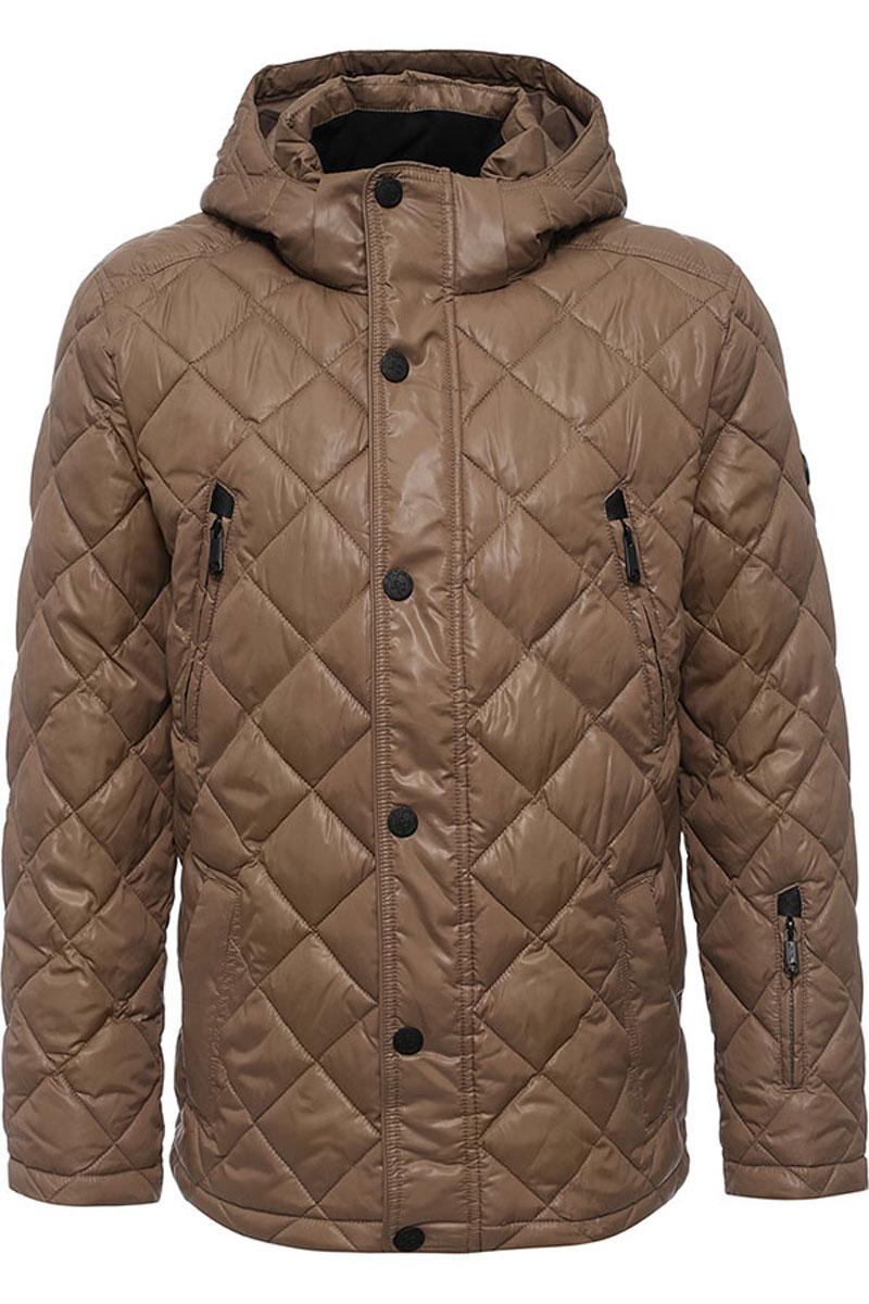 Куртка мужская Finn Flare, цвет: серо-коричневый. W16-21002_613. Размер XL (52)W16-21002_613Стильная мужская куртка Finn Flare изготовлена из высококачественного полиэстера. В качестве утеплителя используется полиэстер.Куртка с воротником-стойкой и съемным капюшоном застегивается на застежку-молнию и дополнительно на клапан с кнопками. Капюшон, дополненный регулирующим эластичным шнурком, пристегивается к куртке с помощью кнопок и липучек. Спереди расположены четыре прорезных кармана на застежках-молниях, на рукаве - прорезной карман на застежке-молнии, с внутренней стороны - прорезной карман на застежке-молнии и два накладных кармана на пуговицах.Манжеты рукавов дополнены трикотажными напульсниками. Нижняя часть модели регулируется с помощью эластичного шнурка со стопперами.
