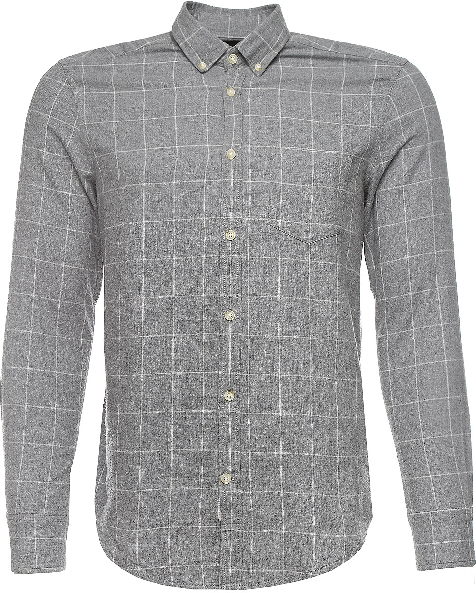 Рубашка мужская Mexx, цвет: серый меланж. MX3023504_MN_SHG_008. Размер S (44/46)MX3023504_MN_SHG_008Стильная мужская рубашка Mexx изготовлена из высококачественного хлопка.Рубашка с отложным воротником и длинными рукавами застегивается на пуговицы по всей длине. На манжетах и воротнике предусмотрены застежки-пуговицы. На груди расположен накладной карман. Оформлено изделие принтом в клетку.