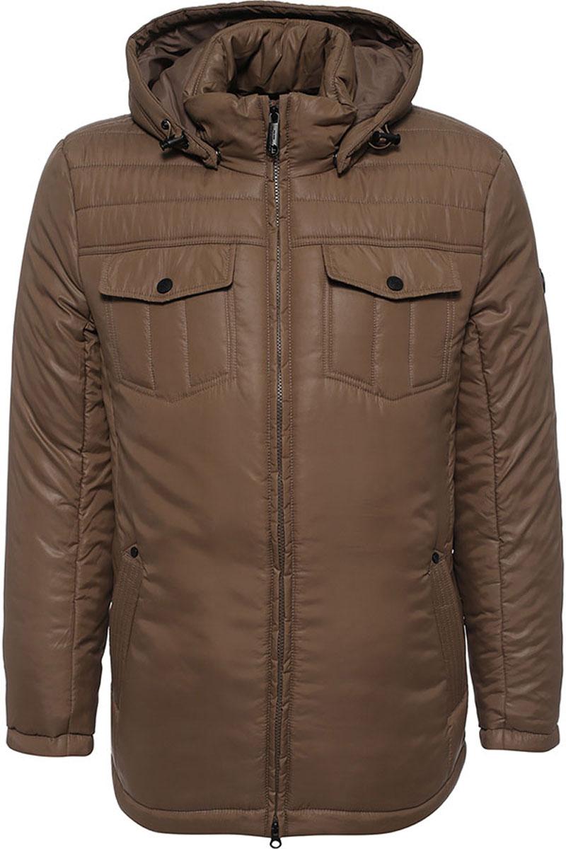 Куртка мужская Finn Flare, цвет: каштановый. W16-21003_613. Размер L (50)W16-21003_613Стильная мужская куртка Finn Flare превосходно подойдет для прохладных дней. Куртка выполнена из высококачественного материала с подкладкой и наполнителем из полиэстера. Модель классического прямого кроя с длинными рукавами и воротником-стойкой застегивается на молнию. Капюшон пристегивается на кнопки, имеет на макушке хлястик на липучке и дополнен утягивающей резинкой на стопперах. Спереди изделие дополнено двумя втачными карманами на молнии и двумя накладными карманами с клапанами на кнопках. На внутренней стороне куртка оформлена одним прорезным карманом на молнии и двумя втачными карманами на пуговице. По низу модель регулируется в размере с помощью стопперов.