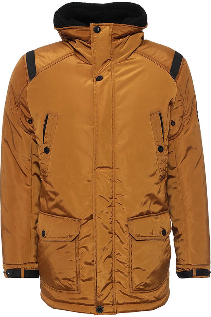 Куртка мужская Finn Flare, цвет: коричневый. W16-22011_611. Размер XXL (54)W16-22011_611Стильная мужская куртка Finn Flare превосходно подойдет для холодной погоды. Куртка выполнена из высококачественного материала с подкладкой и наполнителем из полиэстера. Модель прямого кроя, немного удлинённая, с длинными рукавами и несъемным капюшоном застегивается на молнию и дополнительно имеет планку на кнопках. Капюшон утеплен, его края можно отогнуть и пристегнуть на кнопку. Спереди изделие дополнено двумя втачными карманами на кнопках и двумя накладными карманами с клапанами на кнопках. На внутренней стороне куртка оформлена одним прорезным карманом на молнии и двумя втачными карманами на пуговице и на липучке. В поясе и по низу модель регулируется в размере с помощью стопперов.
