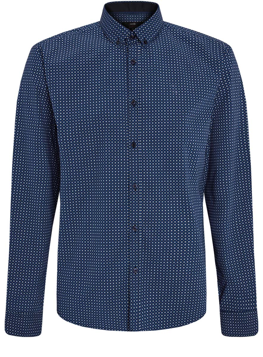 Рубашка мужская oodji Lab, цвет: черный, синий, белый. 3L110203M/19370N/7975G. Размер 38 (44-182)3L110203M/19370N/7975GСтильная мужская рубашка oodji Lab, выполненная из натурального хлопка, позволяет коже дышать, тем самым обеспечивая наибольший комфорт при носке. Модель-слим с отложным воротником и длинными рукавами застегивается на пуговицы по всей длине. Манжеты рукавов оснащены застежками-пуговицами. Изделие оформлено оригинальным принтом.