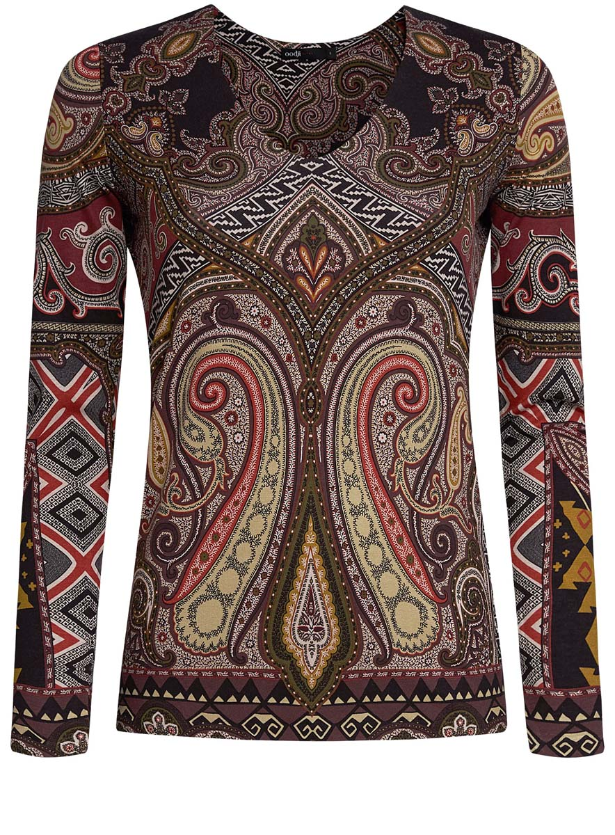 Блузка женская oodji Ultra, цвет: коричневый, терракотовый. 14201014/14675/3731E. Размер L (48)14201014/14675/3731EЖенская блузка oodji Ultra имеет V-образный вырез воротника и длинные рукава. Исполнена из мягкой облегающей ткани.