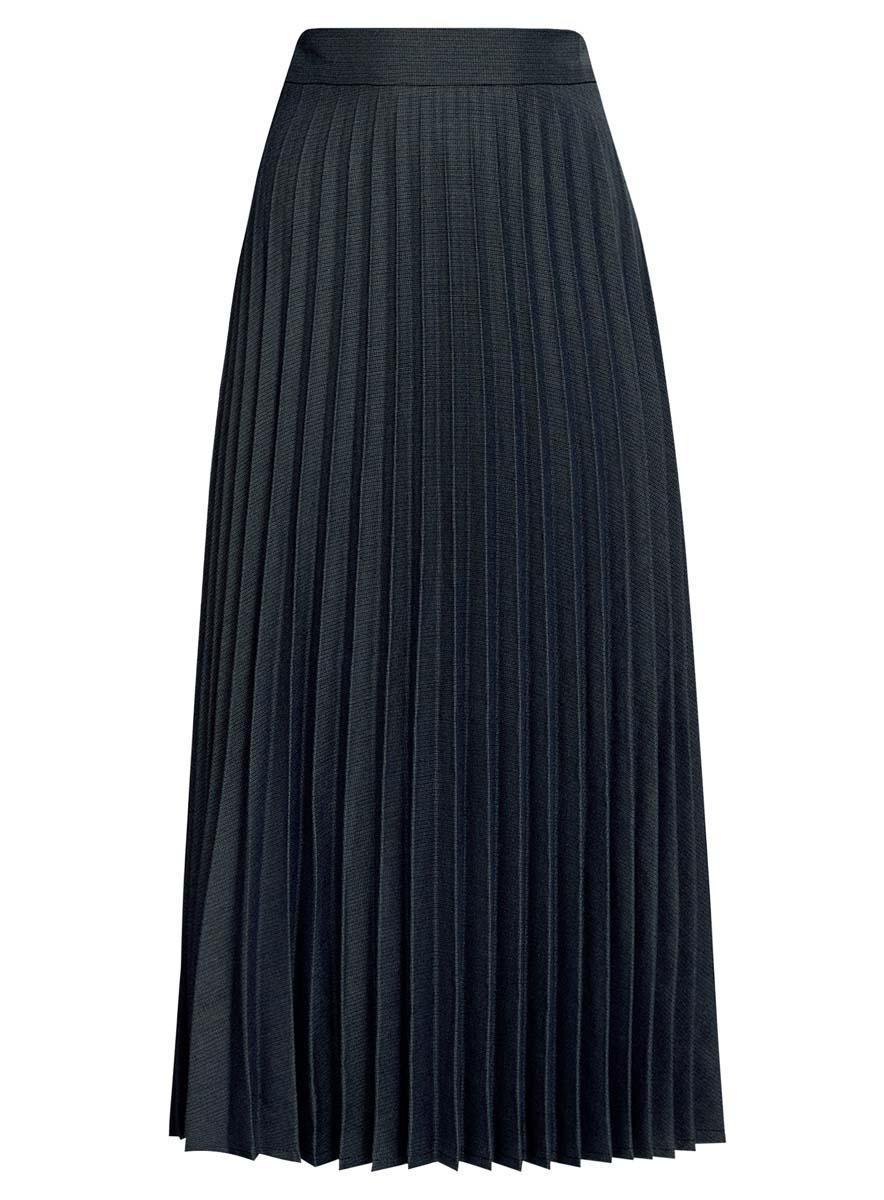 Юбка oodji Collection, цвет: черный, темно-синий. 21606020/45879/2975G. Размер 36 (42-170)21606020/45879/2975GПлиссированная юбка oodji Collection выполнена из полиэстера с добавлениемвискозы и полиуретана. Модель длины миди сбоку дополнена потайнойзастежкой-молнией и оформлена мелким принтом.