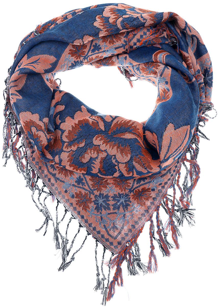 Платок женский Vittorio Richi, цвет: синий, коричневый. F535-1/. Размер 100 см х 100 смF535-1/Теплый женский платок Vittorio Richi изготовлен из сочетания теплой шерсти и высококачественного акрила. Жаккардовый платок оформлен цветочным дизайном и дополнен по краям стильной бахромой.