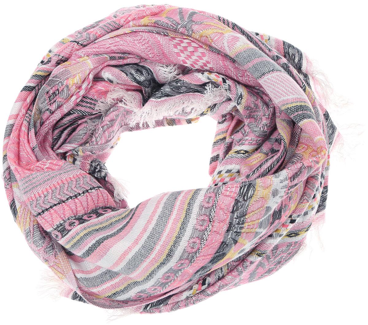 Палантин Vittorio Richi, цвет: розовый, серый. PC3703-6. Размер 70 см х 170 смPC3703-6Теплый женский палантин Vittorio Richi изготовлен из сочетания высококачественных материалов. Жаккардовый палантин оформлен принтом с узорами и дополнен по краям стильной бахромой.