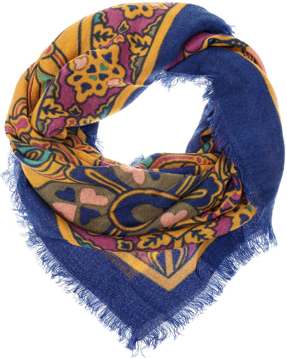 Платок женский Vittorio Richi, цвет: синий, горчичный. SH1502-R18-6. Размер 100 см х 100 смSH1502-R18-6Теплый женский платок Vittorio Richi изготовлен из сочетания теплой шерсти и высококачественного акрила. Платок оформлен контрастным принтом с узорами и дополнен по краям стильной бахромой.