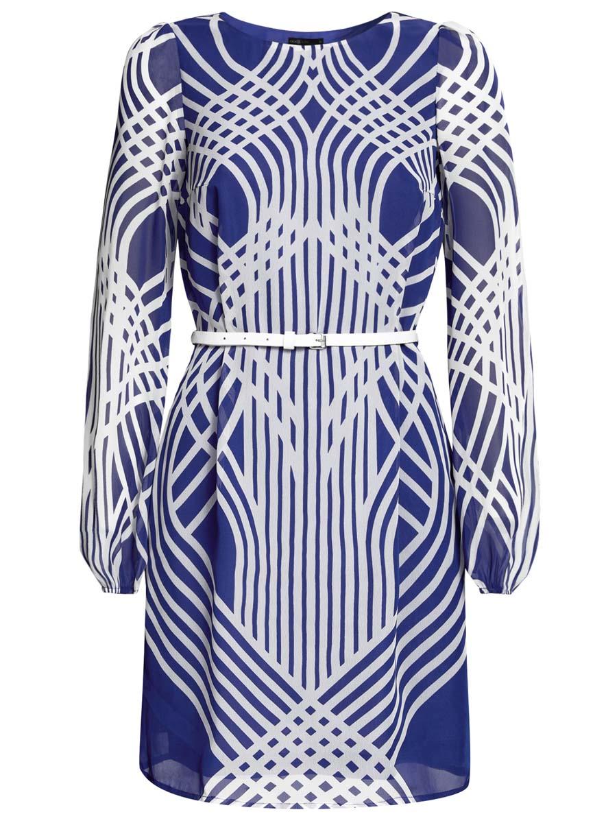 Платье oodji Ultra, цвет: синий, белый. 11900150-3/13632/7510O. Размер 42 (48-170)11900150-3/13632/7510OПлатье oodji Ultra выполнено из полиэстера. Модель средней длины с длинными рукавами имеет круглый вырез горловины. Изделие имеет свободный крой, дополнено однотонной подкладкой. Платье украшено контрастным принтом с изображением пересекающихся полосок. В комплект входит узкий ремень.