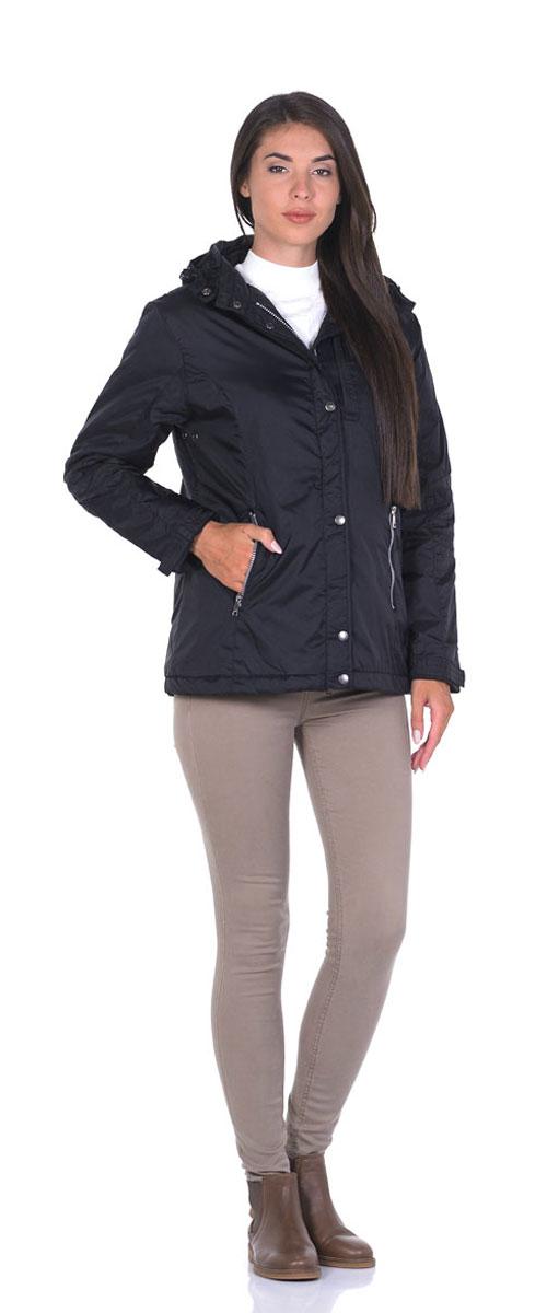 Куртка женская Montana, цвет: черный. 22776. Размер L (48)22776_BlackЖенская куртка Montana выполнена из нейлоновой ткани с наполнителем из высококачественного полиэстера. Модель классического прямого кроя с длинными рукавами, застегивается на молнию и имеет верхний защитный клапан на кнопках. Есть съемный капюшон, дополненный стопперами и застежкой-кнопкой, пристегивается к куртке на молнию. Манжеты дополнены хлястиками на липучках. На лицевой части три прорезных кармана на молниях, есть два внутренних кармана прорезной на молнии и накладной на липучке. Низ изделия дополнен стопперами на резинках.