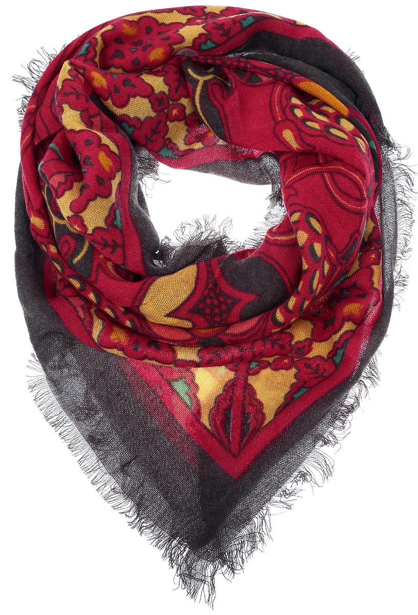 Платок женский Vittorio Richi, цвет: красный, коричневый. SH1502-R18-2. Размер 100 см х 100 смSH1502-R18-2Теплый женский платок Vittorio Richi изготовлен из сочетания теплой шерсти и высококачественного акрила. Платок оформлен контрастным принтом с узорами и дополнен по краям стильной бахромой.
