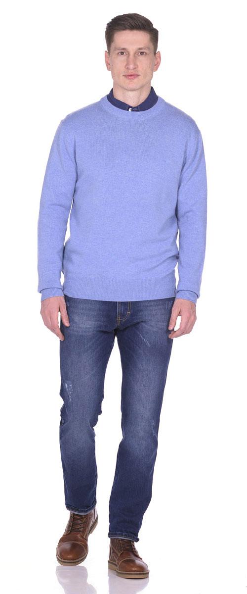 Пуловер мужской Montana, цвет: голубой. 26095. Размер XXL (54)26095_BluТеплый мужской пуловер выполнен из 100% овечьей шерсти. Модель с длинным рукавом и круглым вырезом горловины спереди оформлен небольшой вышивкой с логотипом бренда. Низ, горловина и манжеты пуловера выполнены извязанной манжетной резинки.