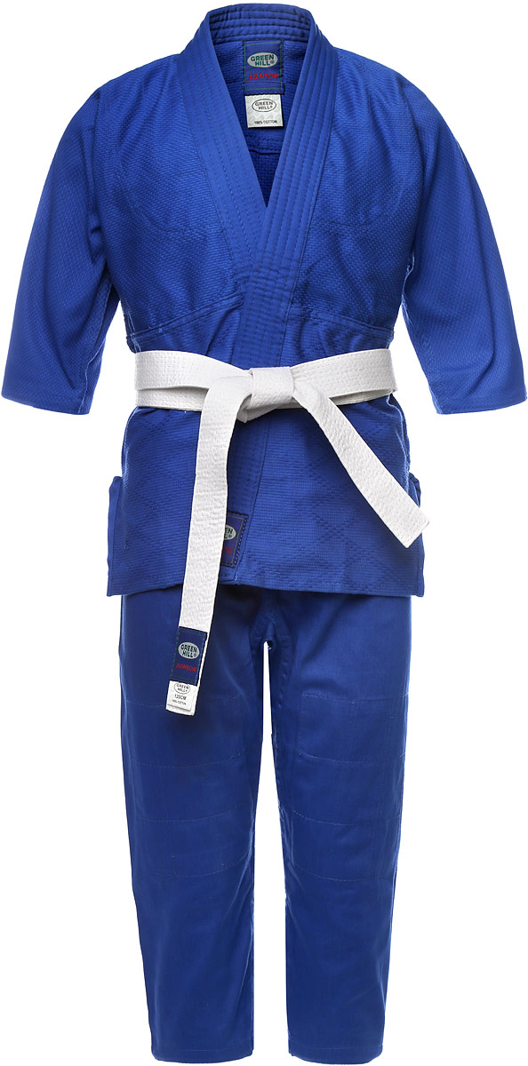 Кимоно детское для дзюдо Green Hill Junior, цвет: синий. JSJ-10227. Размер 00/120JSJ-10227Кимоно детское для дзюдо Green Hill Junior состоит из рубашки, брюк и пояса. Просторная рубашка с глубоким запахом, с боковыми разрезами и рукавом три четверти. Рубашка усилена двойными швами на плечах, рукавах и груди. На плечах имеется пространство для нашивки национального флага страны. Логотип Green Hill нашит на поясе, нижней части куртки и верхней части рукавов. Просторные брюки на широком поясе со шнурком для фиксации брюк на талии. Длинный плотный пояс укреплен многорядной прострочкой. Комплект изготовлен из натурального хлопка, плотностью 350 г/м2.Уважаемые клиенты! Обращаем ваше внимание на возможные изменения в цветовом дизайне пояса, связанные с ассортиментом продукции. Поставка осуществляется в зависимости от наличия на складе.