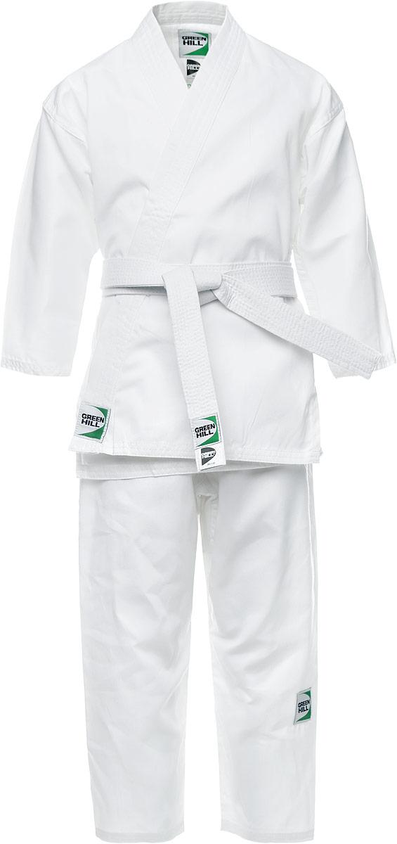 Кимоно детское для карате Green Hill Adult, цвет: белый. KSA-10347. Размер 000/110KSA-10347Детское кимоно для карате Green Hill Adult состоит из рубашки и брюк. Просторная рубашка с запахом, боковыми разрезами и длинными рукавами-кимоно изготовлена из плотного хлопка. Боковые швы, края рукавов и полочек, низ рубашки укреплены дополнительными строчками и крепкой лентой с внутренней стороны. Рубашка завязывается на специальные завязки. Просторные брюки особого покроя имеют широкую эластичную резинку на талии со скрытым шнурком, обеспечивающую комфортную посадку.Изделия оформлены нашивками с логотипом бренда. Кимоно рекомендуется для тренировок в зале.