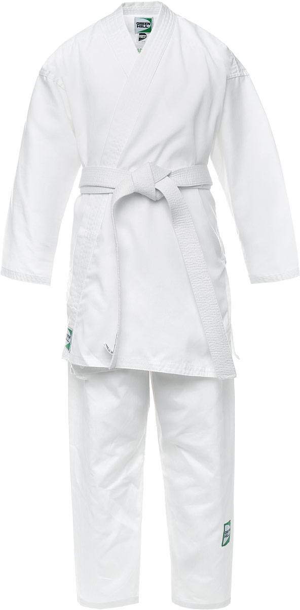 Кимоно для карате Green Hill Adult, цвет: белый. KSA-10347. Размер 3/160KSA-10347Кимоно для карате Green Hill Adult состоит из рубашки и брюк. Просторная рубашка с запахом, боковыми разрезами и длинными рукавами-кимоно изготовлена из плотного хлопка. Боковые швы, края рукавов и полочек, низ рубашки укреплены дополнительными строчками и крепкой лентой с внутренней стороны. Рубашка завязывается на специальные завязки. Просторные брюки особого покроя имеют широкую эластичную резинку на талии со скрытым шнурком, обеспечивающую комфортную посадку.Изделия оформлены нашивками с логотипом бренда. Кимоно рекомендуется для тренировок в зале.
