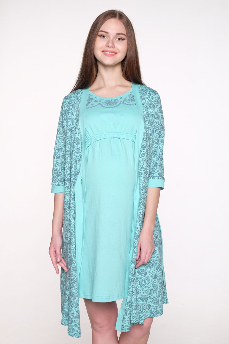 Комплект для беременных и кормящих Hunny Mammy: халат, сорочка ночная, цвет: бирюзовый, серый. 1-НМК 07720. Размер 461-НМК 07720Комплект выполнен из хлопка. Халат на запах, рукав 3/4, сорочка с секретом для кормления.