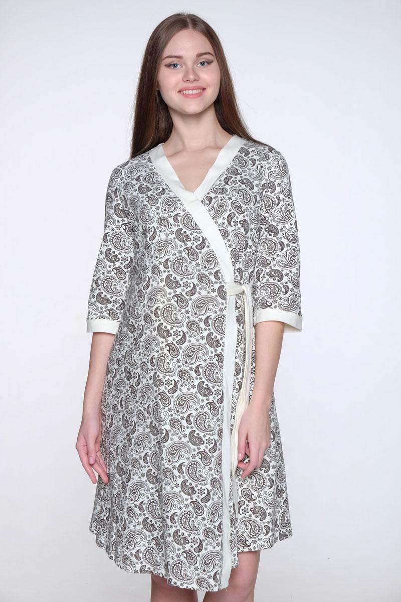 Комплект одежды для беременных и кормящих Hunny Mammy: халат, сорочка ночная, цвет: молочный, коричневый. 1-НМК 08520. Размер 501-НМК 08520Уютный, нежный комплект состоит из халата и ночной сорочки. Халат на запах с широким поясом и рукавом 3/4, сорочка с секретом для кормления.