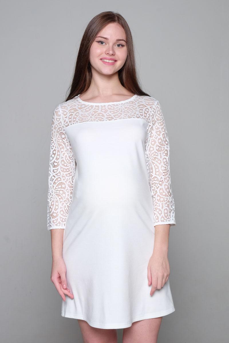 Платье для беременных Hunny Mammy, цвет: молочный. 2-НМ 33311. Размер 422-НМ 33311Платье для будущих мама. Удобный крой для растущего животика, круглый ворот, верх платья и рукава выполнены из кружева, рукав 3/4.