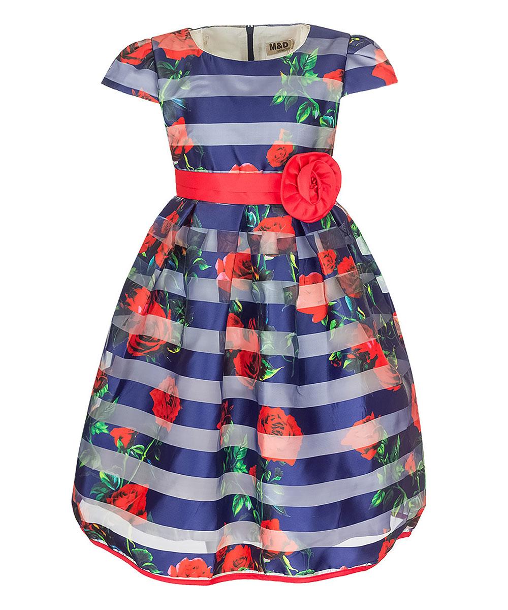 Платье для девочки M&D, цвет: темно-синий, красный, зеленый. NWD27001-29. Размер 104NWD27001-29Очаровательное платье M&D идеально подойдет вашей дочурке. Изделие выполнено из полиэстера с добавлением модала и хлопка. Модель с короткими рукавами фонариками и круглым вырезом горловины застегивается на скрытую застежку-молнию, расположенную на спинке. Модель на поясе дополнена завязками. Хлопковая подкладка дополнена нашивками из органзы, которые придают платью пышность. Платье оформлено цветочным принтом и принтом в полоску, на поясе - съемным декоративным элементом в виде цветка. Низ изделия дополнен контрастной бейкой.