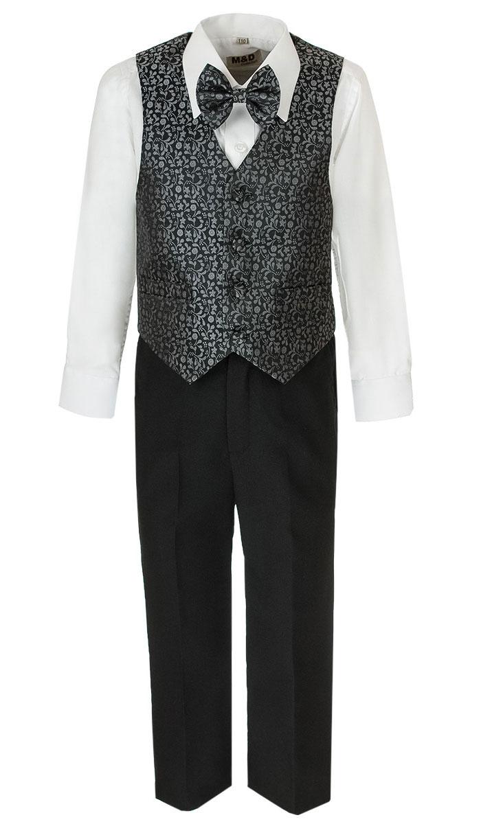 Костюм для мальчика M&D, цвет: серый, черный, белый. HWI170081-20. Размер 110HWI170081-20Костюм для мальчика M&D изготовлен из полиэстера с добавлением модала и хлопка. Костюм включает в себя рубашку, брюки, жилет и галстук-бабочку. Рубашка с отложным воротником и длинными рукавами застегивается на пуговицы. Манжеты рукавов оснащены застежками-пуговицами. На груди расположен накладной карман. Брюки классического кроя и стандартной посадки застегиваются на пуговицу в поясе и ширинку на застежке-молнии. На поясе имеются шлевки для ремня. Пояс по бокам присборен на резинки. Брюки дополнены втачными карманами. Жилет с V-образным вырезом горловины застегивается на пуговицы. Спереди расположены два прорезных кармана. Галстук-бабочка оснащен эластичной резинкой. Жилет и галстук-бабочка оформлены цветочным принтом.