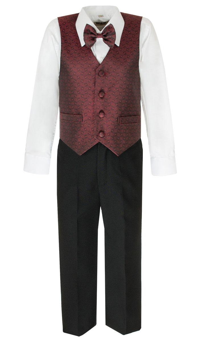 Костюм для мальчика M&D, цвет: бордовый, черный, белый. HWI170011-8. Размер 98HWI170011-8Костюм для мальчика M&D изготовлен из полиэстера с добавлением модала и хлопка. Костюм включает в себя рубашку, брюки, жилет и галстук-бабочку. Рубашка с отложным воротником и длинными рукавами застегивается на пуговицы. Манжеты рукавов оснащены застежками-пуговицами. На груди расположен накладной карман. Брюки классического кроя и стандартной посадки застегиваются на пуговицу в поясе и ширинку на застежке-молнии. На поясе имеются шлевки для ремня. Пояс по бокам присборен на резинки. Брюки дополнены втачными карманами. Жилет с V-образным вырезом горловины застегивается на пуговицы. Спереди расположены два прорезных кармана. Галстук-бабочка оснащен эластичной резинкой. Жилет и галстук-бабочка оформлены оригинальным принтом.