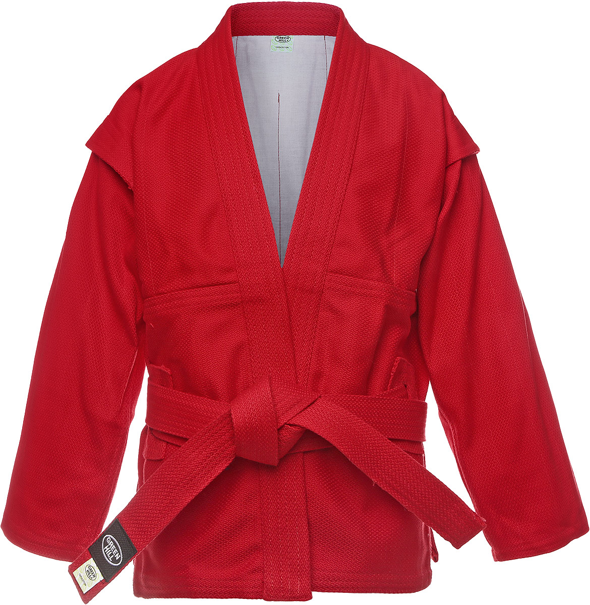 Куртка для самбо Green Hill, цвет: красный. SC-2002. Размер 00/120SC-2002Куртка для занятий самбо Green Hill выполнена из 100% хлопка. Просторная куртка с глубоким запахом и боковыми разрезами. Модель дополнена плотным поясом с многорядной прострочкой. Боковые швы и края укреплены дополнительными строчками.