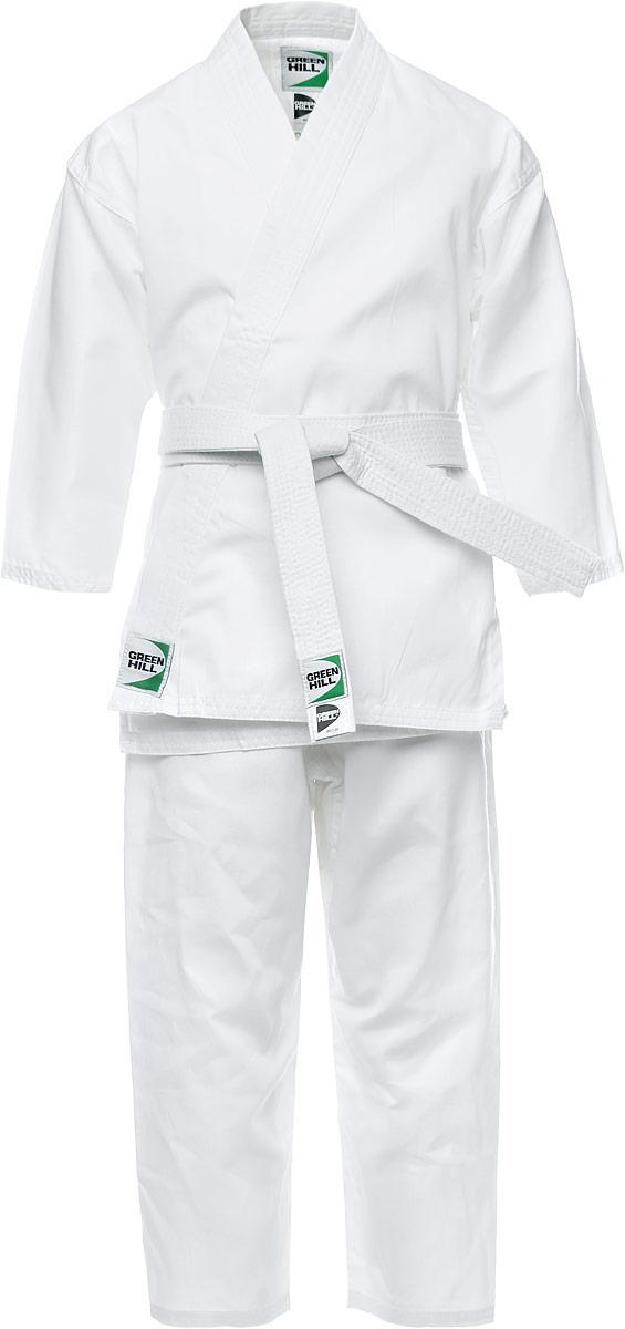 Кимоно для карате Green Hill Beginner, цвет: белый. P1034-4. Размер 4/170KSB-10341Кимоно для карате Green Hill Beginner состоит из рубашки, брюк и пояса. Просторная рубашка с глубоким запахом, с боковыми разрезами завязывается специальными завязками. Боковые швы и края укреплены дополнительными строчками. Просторные брюки на широком поясе со шнурком для фиксации брюк на талии. Длинный плотный пояс укреплен многорядной прострочкой. Комплект изготовлен из натурального хлопка.