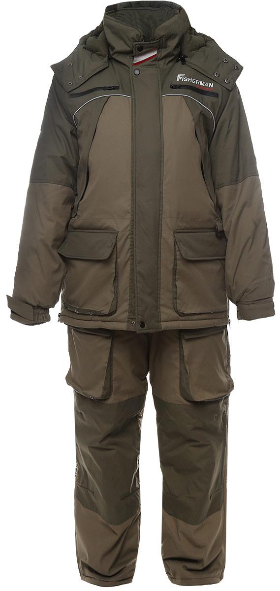 Костюм мужской рыболовный FisherMan Nova Tour Фишермен V2, цвет: хаки, светлый хаки. 46203-564. Размер XS (48)46203-564Костюм состоит из куртки и полукомбинезона. Обновленная версия костюма Фишермен, отличается более современной конструкцией и удобной посадкой костюма по фигуре.Новый утеплитель Termo MAX обеспечит непревзойденный комфорт и сохранение тепла в условиях зимней рыбалки.Проклеенные швы защищают от попадания воды. Климатическая мембрана прекрасно отводит влагу.Регулировка рукавов и низа брюк по ширине препятствует попаданию воды, снега, а также задуванию холодного воздуха.Внутренние флисовые манжеты прекрасно сохраняют тепло.Теплый съемный капюшон с жестким козырьком прекрасно защитит Вас от попадания снега, дождя и ветра. Капюшон регулируется по ширине и по объему.Ветрозащитная юбка препятствует попаданию снега и задуванию ветра.Регулировка полукомбинезона по росту и эластичные боковые вставки обеспечивают комфортную посадку по фигуре.Удобные внешние и внутренние карманы позволят разместить необходимые каждому рыбаку мелочи.Молнии оснащены хлястиками – удобно открывать карман даже в объемных рукавицах.Также в области колена имеются кармашки для вставки теплоизолирующих вкладышей.Вставки из плотного износостойкого материала на коленях и в задней части комбинезона.Костюм компактно упаковывается в специальную сумку.Максимальная температура носки -25°C.