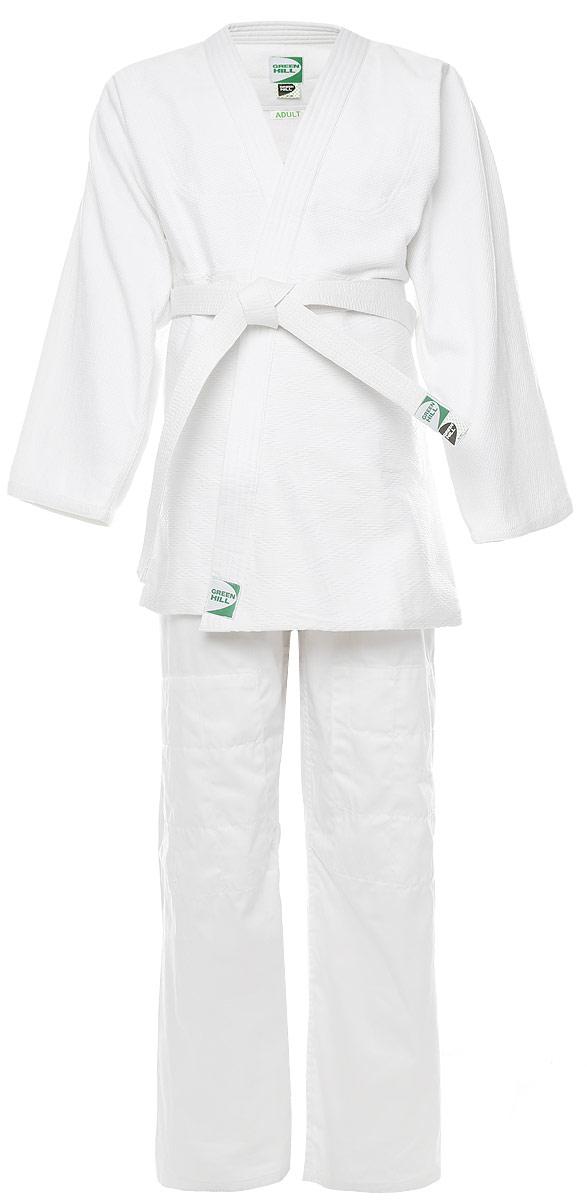 Кимоно для дзюдо Green Hill Adult, цвет: белый. JSA-10429. Размер 5/180JSA-10429Кимоно для дзюдо Green Hill Adult, состоящее из куртки и брюк, выполнено из натурального хлопка. Просторная куртка с глубоким запахом и рукавом 3/4 дополнена поясом на талии. Нижняя часть куртки по бокам дополнена разрезами. Просторные брюки особого кроя оснащены на поясе затягивающимся шнурком. Куртка усилена двойными швами на плечах, рукавах и груди.