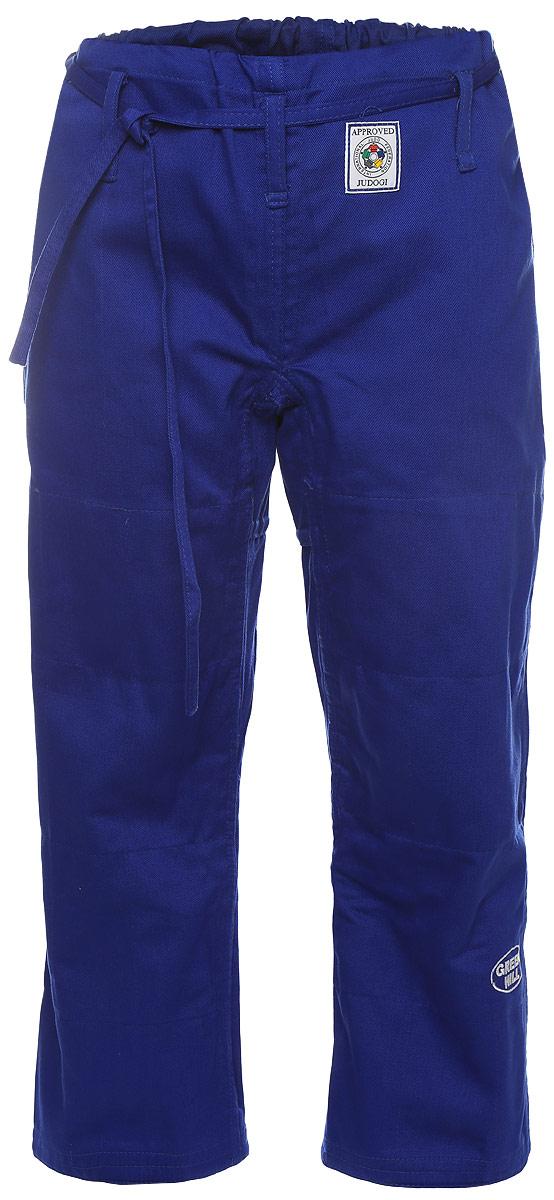 Брюки для дзюдо Green Hill Olimpic, цвет: синий. JTOI-10801. Размер 5,5/185JTOI-10801Просторные брюки для дзюдо Green Hill Olimpic на широком поясе и шнурком для фиксации. Изделие изготовлено из высококачественного хлопка с двойной усиливающей вставкой в области колен. Также добавленные вставки в пройме брюк обеспечивают их дополнительную прочность. Модель дополнена вышивкой с названием бренда. Плотность ткани: 600 г/м2.
