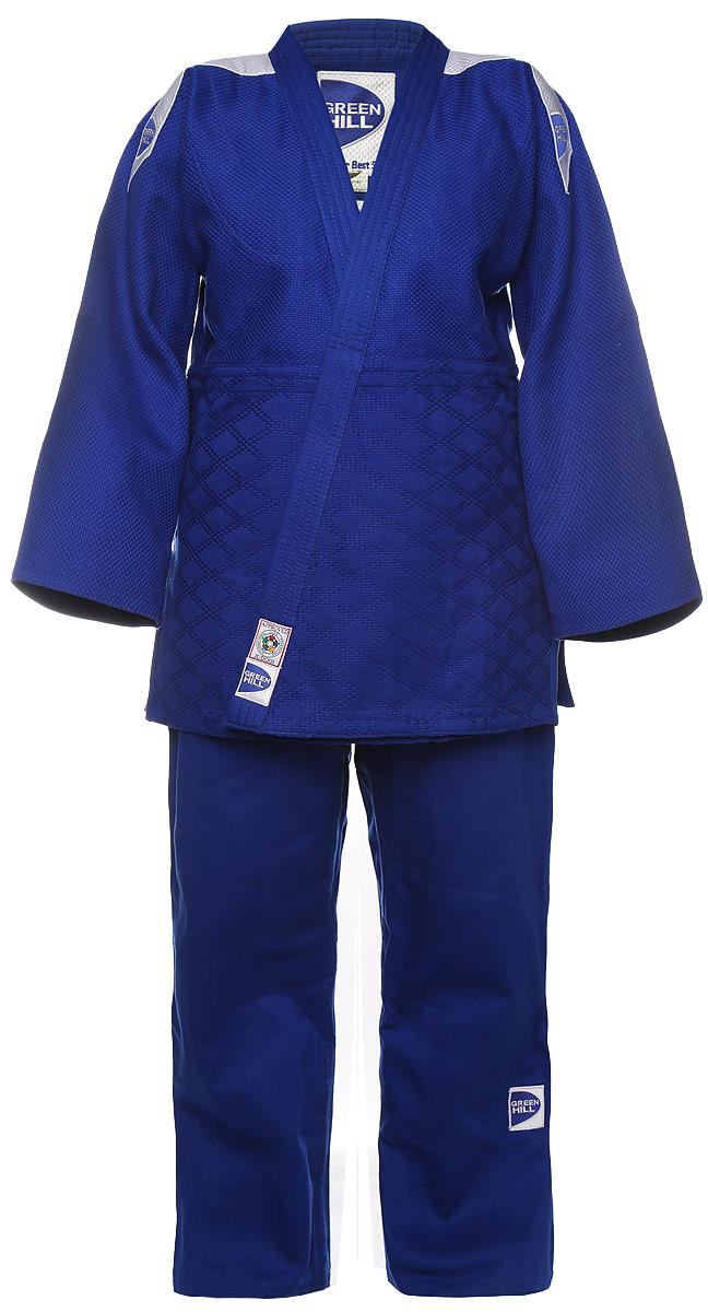 Кимоно для дзюдо Green Hill Professional, цвет: синий. JSP-10388. Размер 3,5/165JSP-10388Кимоно для дзюдо Green Hill Professional, состоящее из куртки и брюк, выполнено из натурального хлопка. Просторная куртка с глубоким запахом и рукавом 3/4 дополнена снизу по бокам разрезами. Просторные брюки особого кроя оснащены на талии затягивающимся шнурком.
