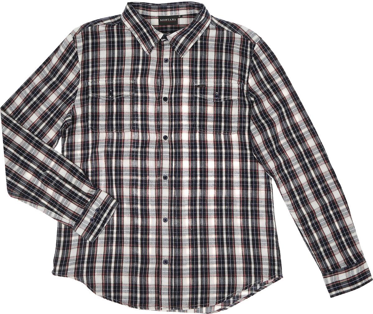 Рубашка мужская Montana, цвет: темно-синий, белый, бордовый. 11058. Размер M (48/50)11058_CHECKСтильная мужская рубашка Montana, выполненная из натурального хлопка, позволяет коже дышать, тем самым обеспечивая наибольший комфорт при носке. Модель классического кроя с отложным воротником и длинными рукавами застегивается на пуговицы по всей длине. Манжеты рукавов дополнены застежками-пуговицами. Модель дополнена на груди двумя накладными карманами с клапанами на пуговицах.