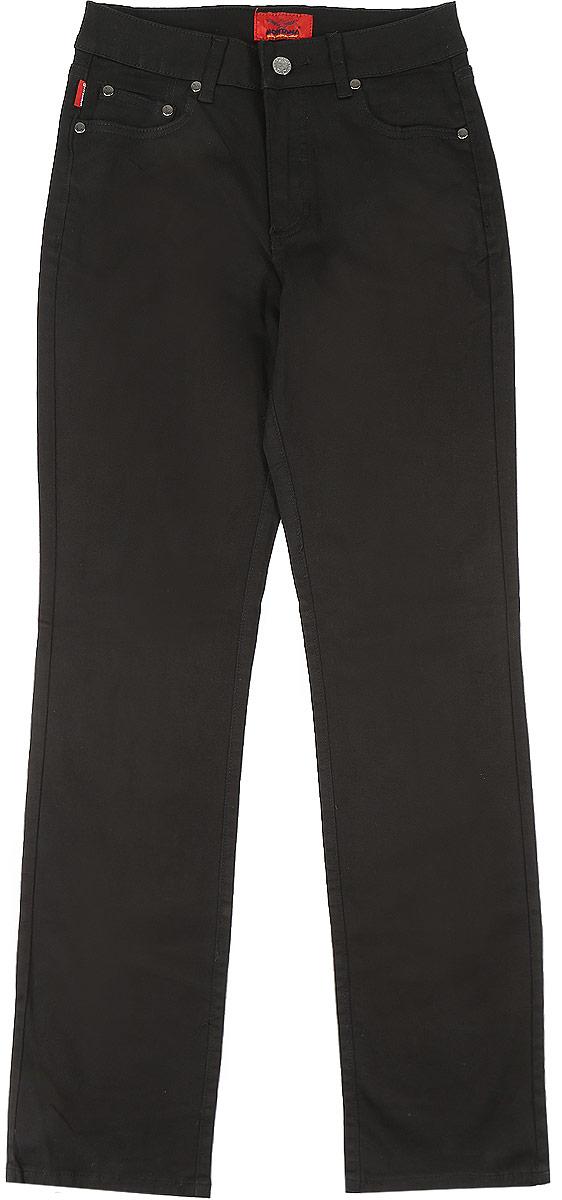 Джинсы женские Montana, цвет: черный. 10737. Размер 26-32 (44-32)10737_BlackЖенские джинсы Montana выполнены из хлопка с добавлением спандекса. Модель прямого кроя по поясу застегивается на пуговицу и имеет ширинку на застежке-молнии. На поясе предусмотрены шлевки для ремня. Спереди расположено два прорезных кармана и маленький накладной, а сзади- два накладных кармана. Джинсы оформлены логотипом бренда выложенным из страз.