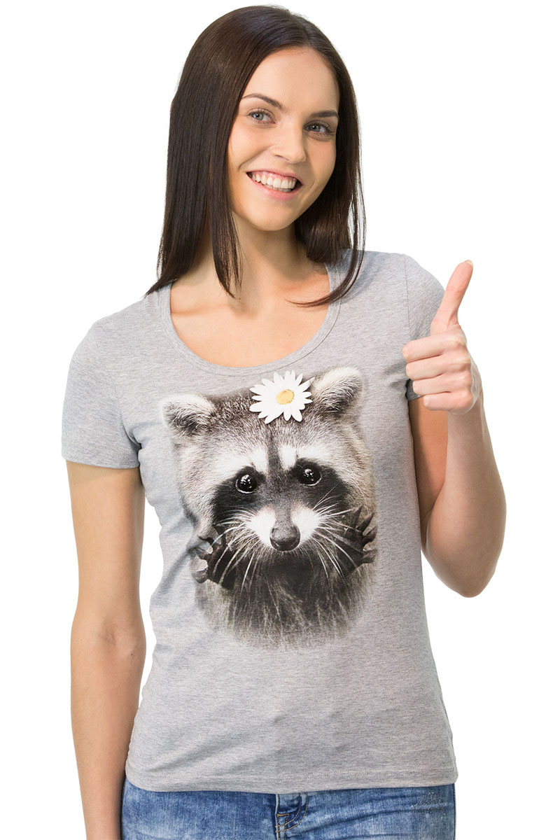 Футболка женская MF Енот, цвет: серый меланж. 1-7. Размер M (46)1-7Женская футболка MF Енот с короткими рукавами и круглым вырезом горловины выполнена из хлопка с добавлением полиэстера. Оформлена модель оригинальным принтом.
