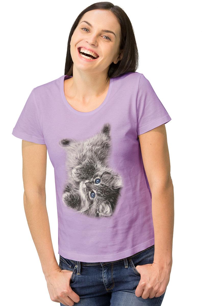 Футболка женская MF Сиреневый котик, цвет: сиреневый. 1-15. Размер S (44)1-15Женская футболка MF Сиреневый котик с короткими рукавами и круглым вырезом горловины выполнена из натурального хлопка. Оформлена модель интересным принтом в виде котика.
