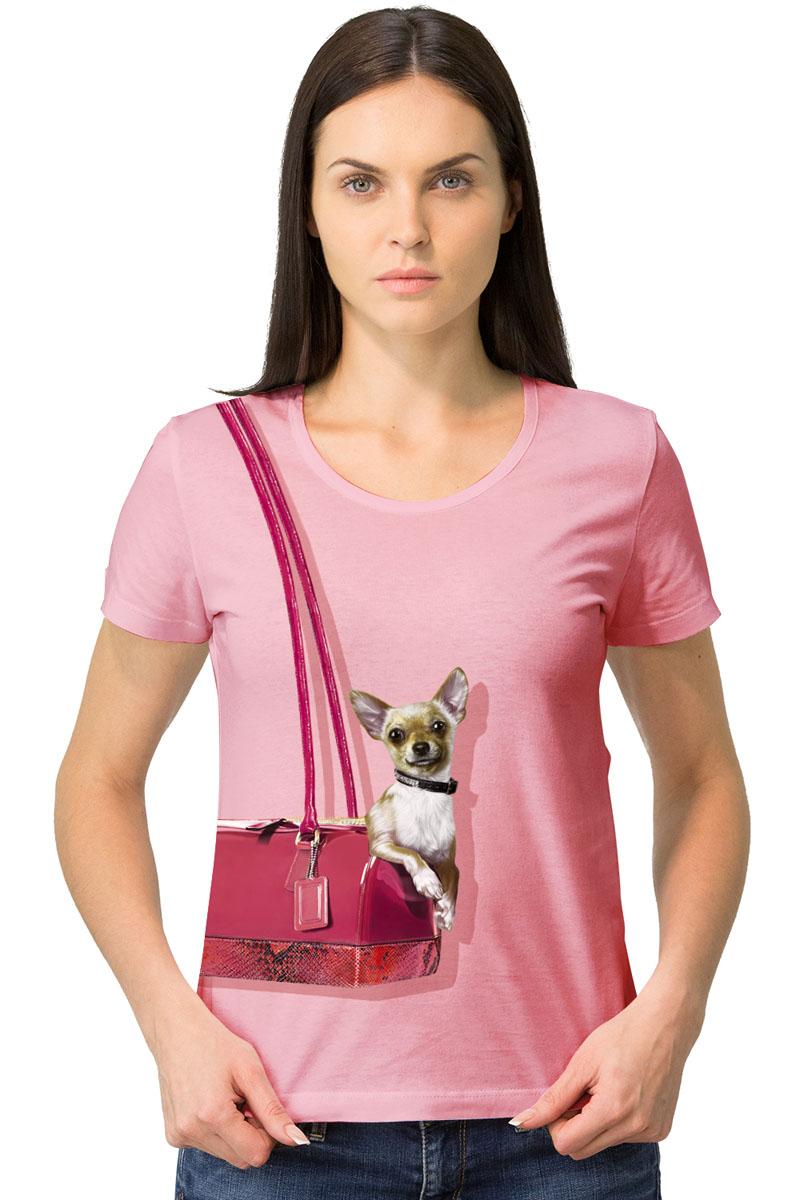 Футболка женская MF Собака в сумке, цвет: розовый. 1-17. Размер M (46)1-17Женская футболка MF Собака в сумке с короткими рукавами и круглым вырезом горловины выполнена из натурального хлопка. Оформлена модель оригинальным принтом.