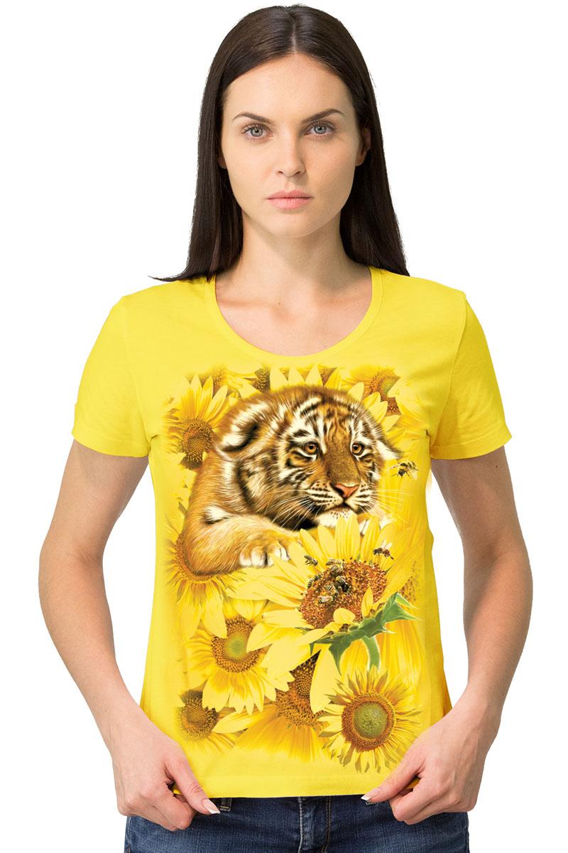 Футболка женская MF Тигр подсолнухи, цвет: желтый. 1-25. Размер XXXL (52/54)1-25Женская футболка MF Тигр подсолнухи с короткими рукавами и круглым вырезом горловины выполнена из натурального хлопка. Оформлена модель оригинальным принтом в виде тигренка.