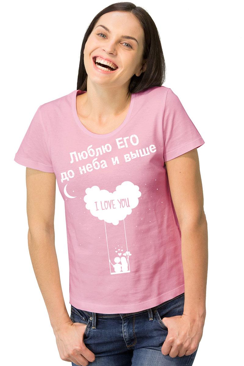 Футболка женская MF Качели, цвет: розовый. 1-27. Размер S (44)1-27Женская футболка MF Качели с короткими рукавами и круглым вырезом горловины выполнена из натурального хлопка. Оформлена модель оригинальным принтом и надписями.