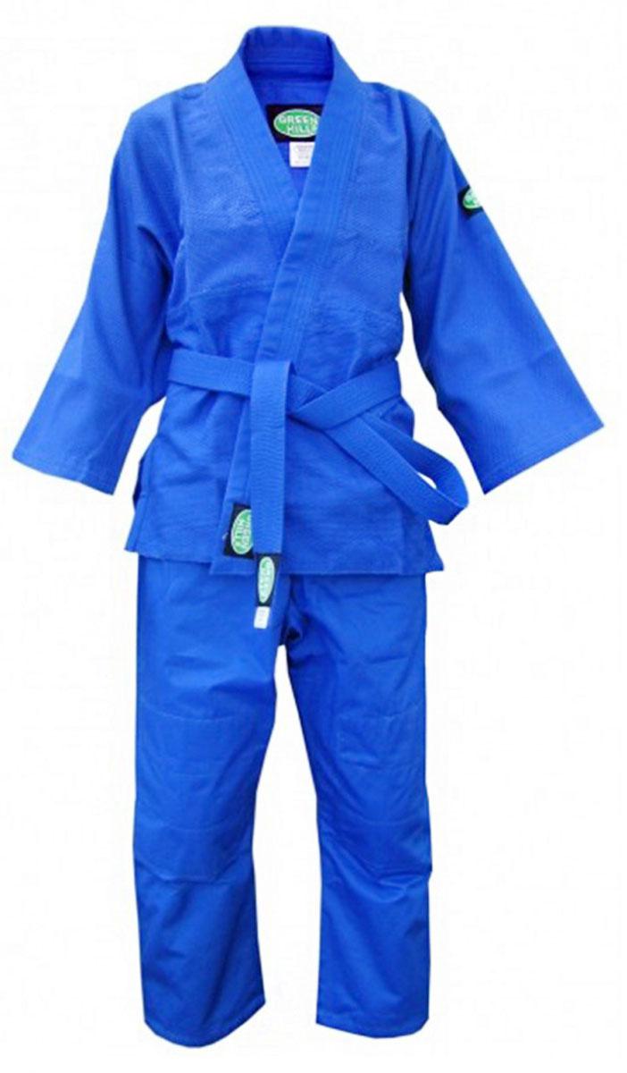 Кимоно для дзюдо детское Green Hill Club, цвет: синий. JSС-10202. Размер 00/120JSС-10202_детскоеДетское кимоно обеспечивает комфорт во время тренировок, благодаря своему натуральному составу из 100% хлопка. Плотность ткани 450 г/м2 - оптимальное соотношение износостойкости и легкости. Двойные швы на плечах, груди, рукавах – обеспечивают дополнительную прочность куртки. Вставки в пройме, в районе колен брюк обеспечивают их дополнительную прочность. Возможная усадка после стирки - 5%.