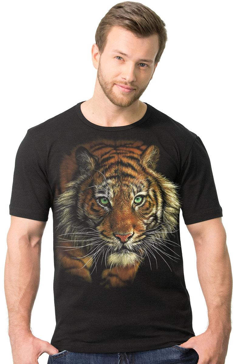 Футболка мужская MF Томный тигр, цвет: черный. 2-30. Размер XXL (56/58)2-30Мужская футболка MF Томный тигр с коротким рукавом и круглым вырезом горловины выполнена из натурального хлопка. Модель оформлена оригинальным принтом в виде тигра.