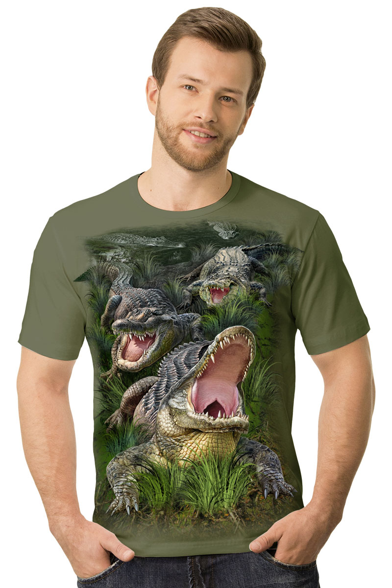 Футболка мужская MF Крокодилы, цвет: хаки. 2-39. Размер M (48)2-39Мужская футболка MF Крокодилы с короткими рукавами и круглым вырезом горловины выполнена из натурального хлопка. Оформлена модель оригинальным принтом.