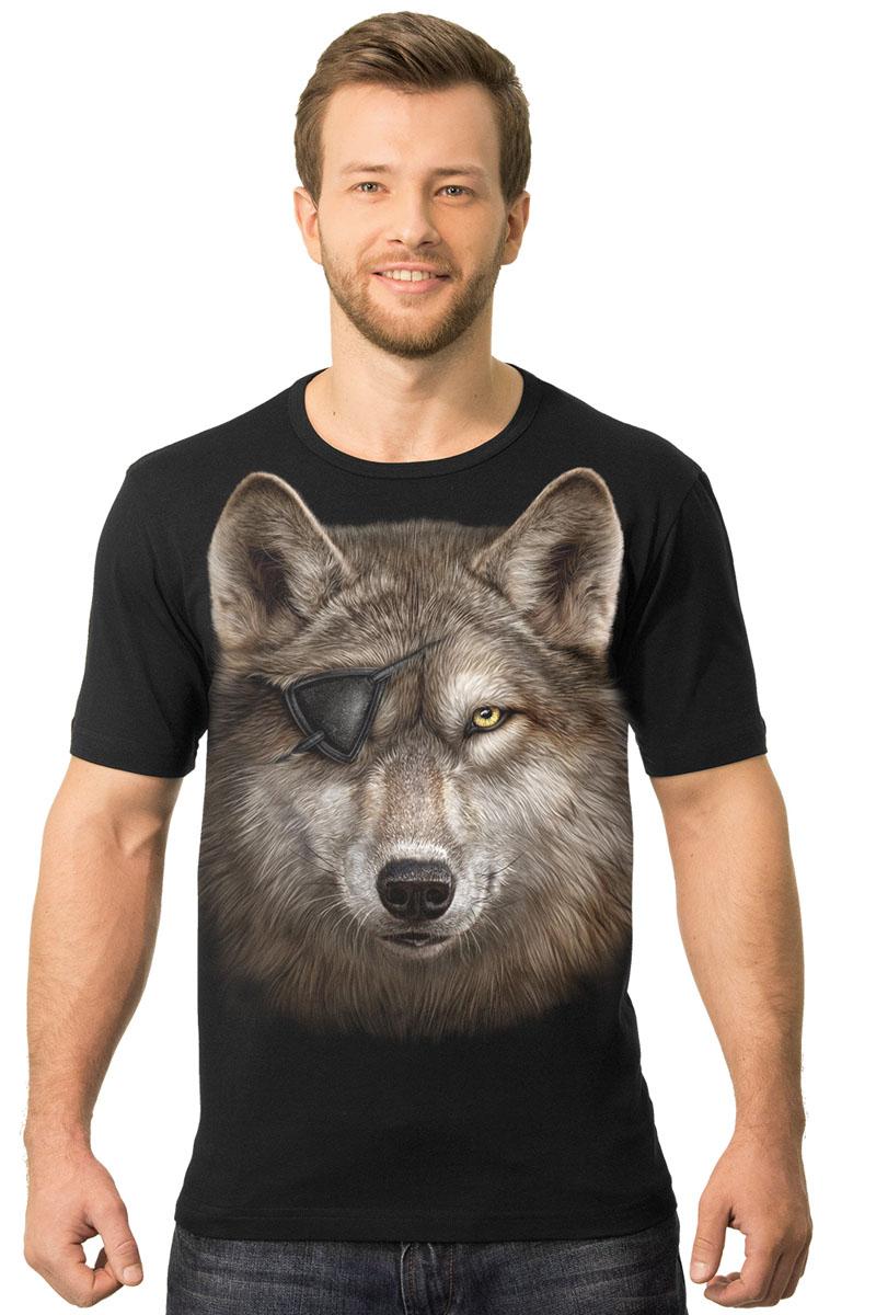 Футболка мужская MF Волк одноглазый, цвет: черный. 2-40. Размер XL (52/54)2-40Мужская футболка MF Волк одноглазый с коротким рукавом и круглым вырезом горловины выполнена из натурального хлопка. Модель оформлена оригинальным принтом в виде волка.
