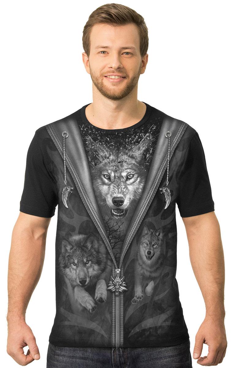 Футболка мужская MF Куртка волки, цвет: черный. 2-47. Размер M (48)2-47Мужская футболка MF Куртка волки с коротким рукавом и круглым вырезом горловины выполнена из натурального хлопка. Оформлена модель оригинальным принтом.